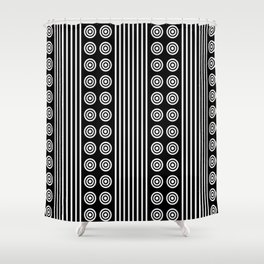 Geometric White on Black Vertical Stripes & Circles Shower Curtain