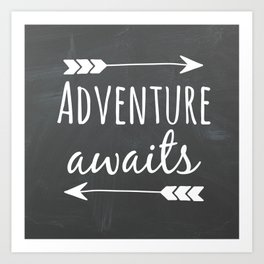 Adventure Awaits Chalkboard Art Print