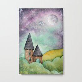 Little Castle In The Rolling Hills - Watercolor Illustration Metal Print