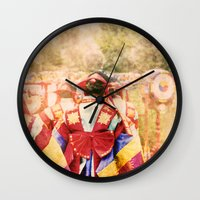 "korean Wall Clocks featuring culture Photography ""KOREAN DANCER"" by FarbCafé"