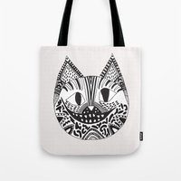 cheshire Tote Bags featuring  CHESHIRE CAT by Vasare Nar