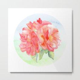 Watercolor Roses Metal Print