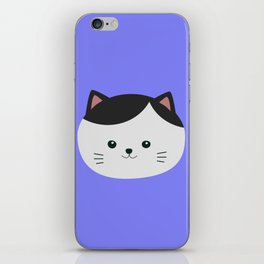 Cat with white fur and black hair iPhone Skin