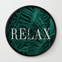 relax Wall Clocks featuring RELAX by sincerelykarissa