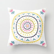 Suzani inspired floral blue 1 Throw Pillow