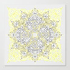 Sunny Doodle Mandala in Yellow & Grey Canvas Print