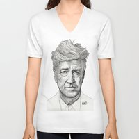 lynch V-neck T-shirts featuring David Lynch by Paul Nelson-Esch Art