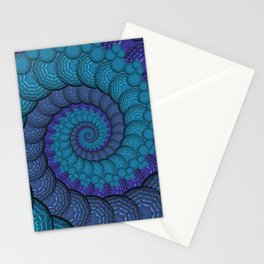 Blue Peacock Fractal Pattern Stationery Cards