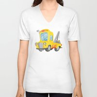 truck V-neck T-shirts featuring tow truck by Alapapaju
