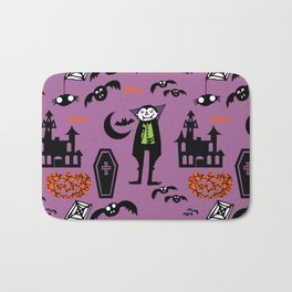 Cute Dracula and friends purple #halloween Bath Mat
