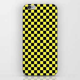 Black and Electric Yellow Checkerboard iPhone Skin