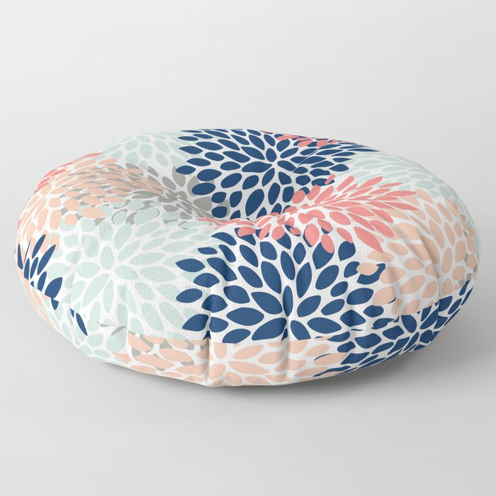 Floral Bloom Print, Living Coral, Pale Aqua Blue, Gray, Navy Floor Pillow