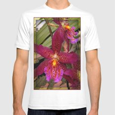 Rose Madder Orchids White Mens Fitted Tee MEDIUM
