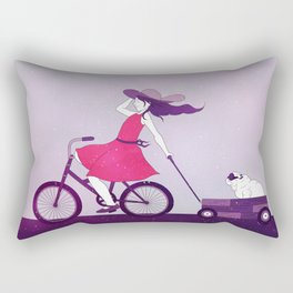 Girl on Bike 02 Rectangular Pillow