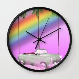 hawaiian rainbow travel poster print. Wall Clock