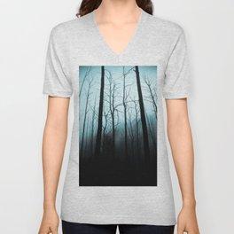 Scary Haunting Halloween Dark Forest Barren Trees Blue Background Unisex V-Neck