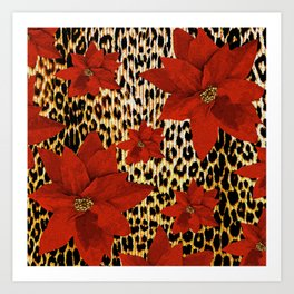 Animal Print Leopard and Red Poinsettia Art Print