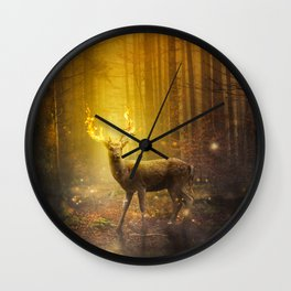 Wonderful Mysterious Deer With Antlers On Fire In Magic Forest Ultra HD Wall Clock