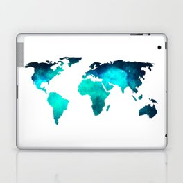 World Map Space Galaxy Stars in Turquoise Laptop & iPad Skin
