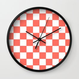 LIVING CORAL WITH WHITE CHECKS Wall Clock