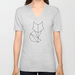 Geometric Fox - Black Unisex V-Neck