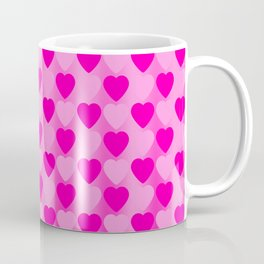 Zigzag of pink hearts staggered on a light background. Coffee Mug