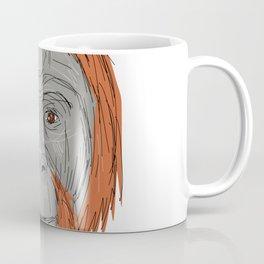 Unflanged Male Orangutan Drawing Coffee Mug