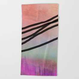 Pink Abstract with Lines - Pastel Beach Towel