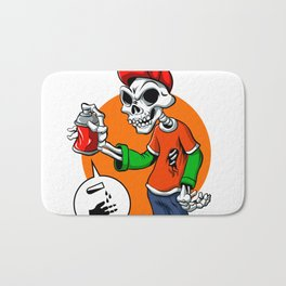 vector skull painting graffiti Bath Mat