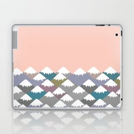 Nature background with Mountain landscape. Gray, pink, blue navy mountain with snow-capped peaks. Laptop & iPad Skin