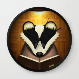 Badger Reading Wall Clock