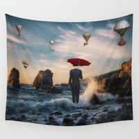 magritte Wall Tapestries featuring A la Magritte by Susann Mielke