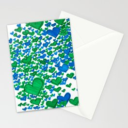 Love Collides - Blue & Green Hearts Stationery Cards