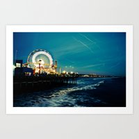 santa monica Art Prints featuring Santa Monica by Kingston Photography