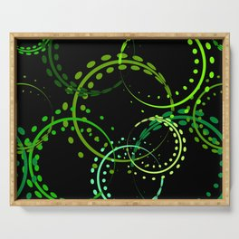 Bright curls and circles of green shades on a black background. Serving Tray