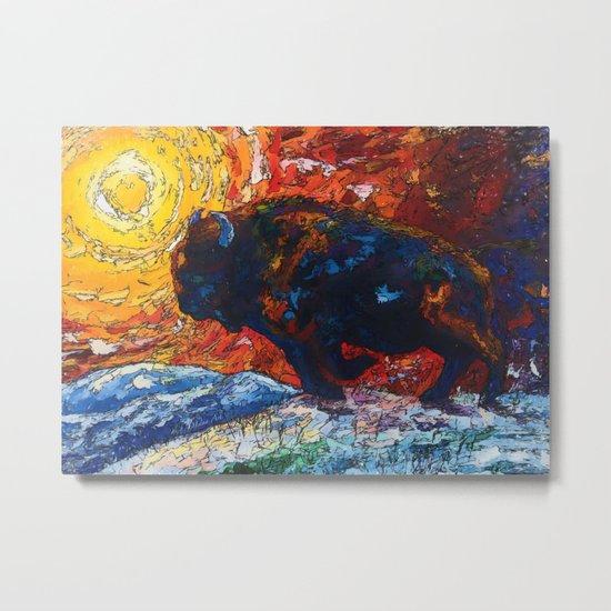 Bison Running Metal Print