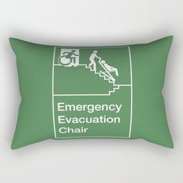 Accessible Means of Egress Icon, Emergency Evacuation Chair Sign Rectangular Pillow