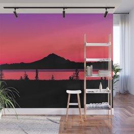 Pink Sunset Silhouette - Mt. Redoubt, Alaska Wall Mural