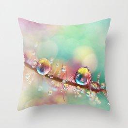 Rainbow Smoke Drops Throw Pillow