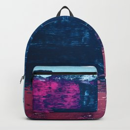 Early Bird [2]: A vibrant minimal abstract piece in blues and pink by Alyssa Hamilton Art Backpack