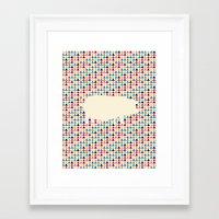 piglet Framed Art Prints featuring Geometric Piglet  by ArtisanObscure Prints