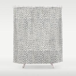 Hand Knit Grey Shower Curtain