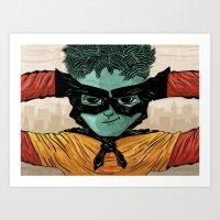 superheroes Art Prints featuring Superheroes SF by Victor Beuren