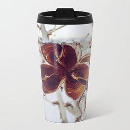 White Orange Flower Metal Travel Mug