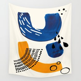 Fun Colorful Abstract Mid Century Minimalist Navy Blue Yellow Organic Shapes Water Drops Patterns Wall Tapestry
