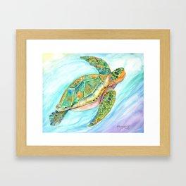 Swimming, Smiling Sea Turtle Framed Art Print