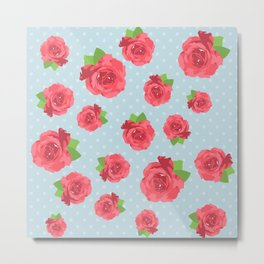 Shabby Chic, Polka Dots, Roses - Red Green Blue Metal Print