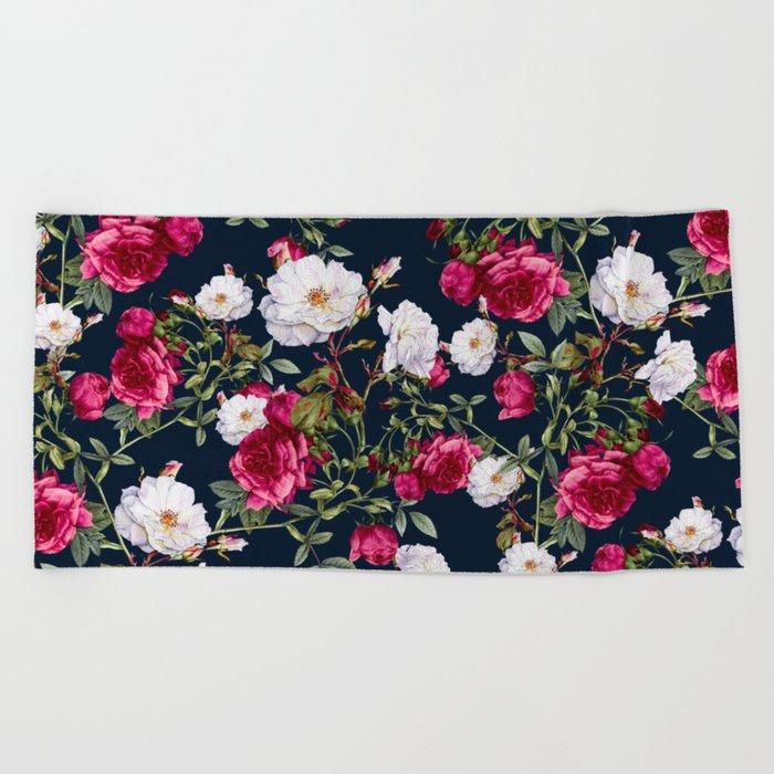 Vintage Roses on Darkblue Beach Towel