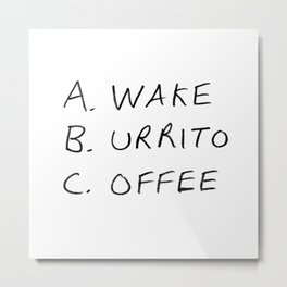 Breakfast Coffee ABC Metal Print