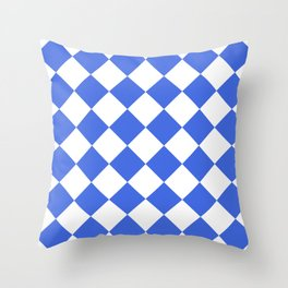 Large Diamonds - White and Royal Blue Throw Pillow